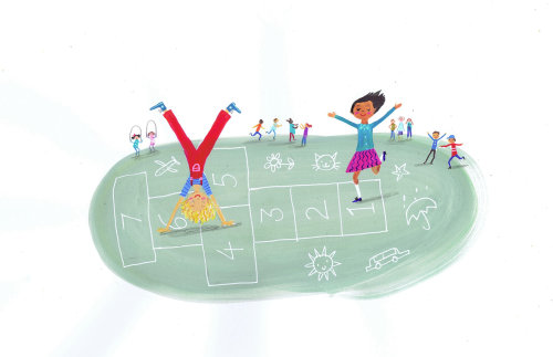 Children illustration playing outdoor