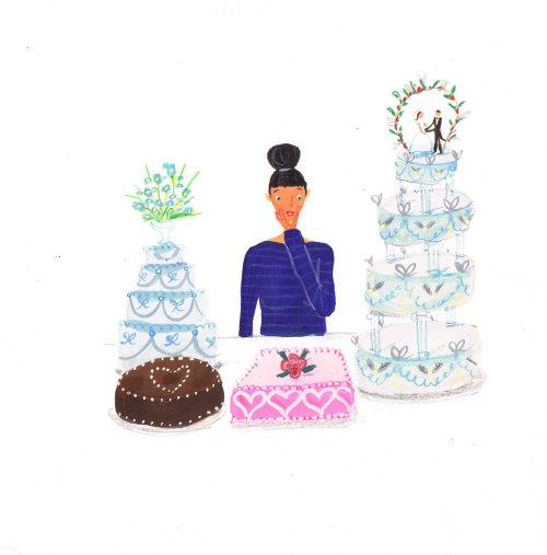 People woman with cake varieties