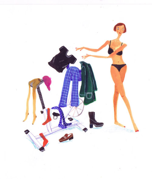 Lifestyle woman hanging clothes
