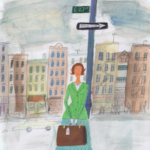 Editorial business woman standing on road