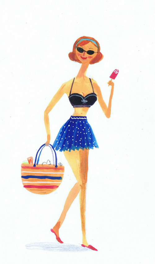 Travel woman with icecream and bag