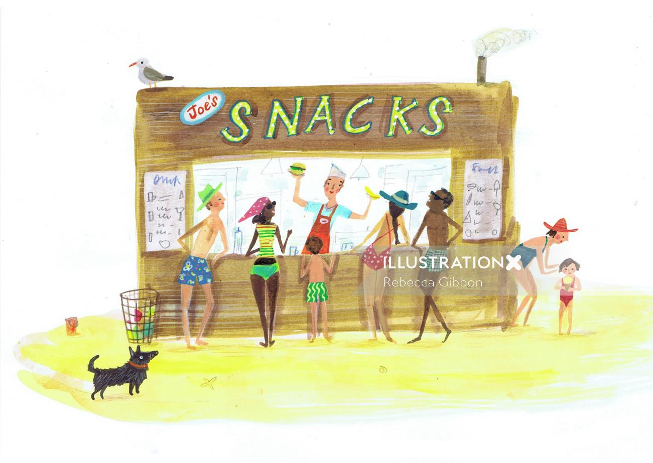 Travel people enjoying snacks