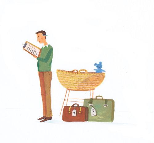 Travel man with travel checklist