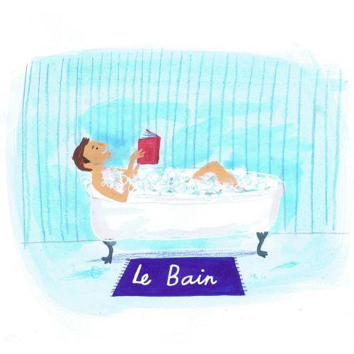 Editorial man reading in bath tub