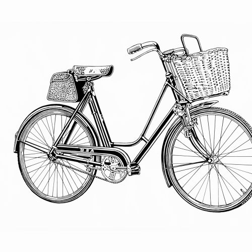 Black and white art of cycle