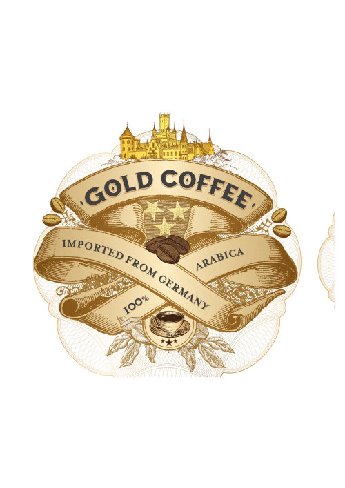 Poster design of gold coffee