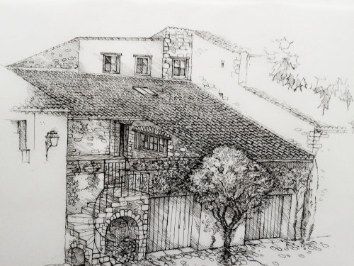 Black and white art of old house