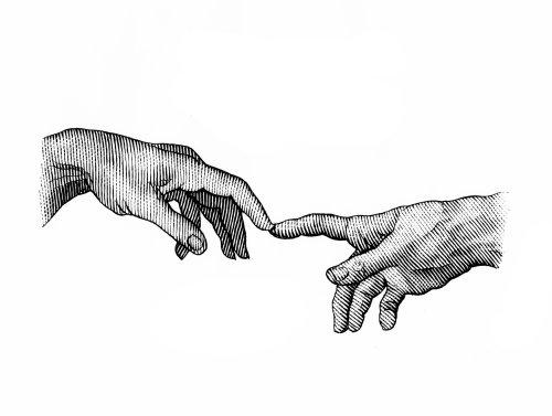 Hands black and white illustration