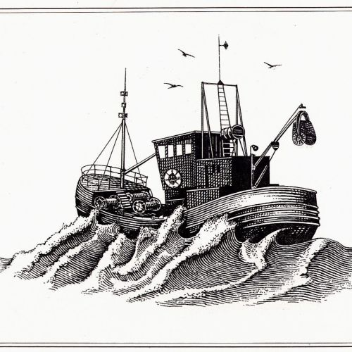 Ship in a stormy weather black and white illustration