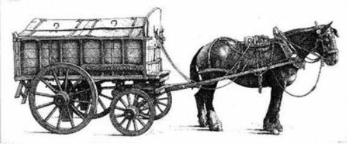 Black and white illustration of horse carriage