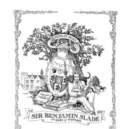 Black and white poster design of sir Benjamin slade