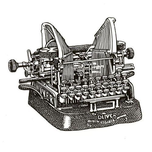 Pencil drawing of type writing machine