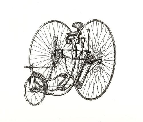 Line illustration of hybrid bicycle