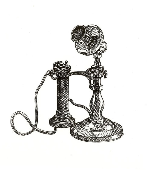 Old style black and white telephone