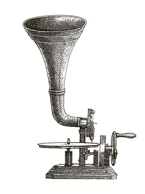 Black and white drawing of vintage gramophone