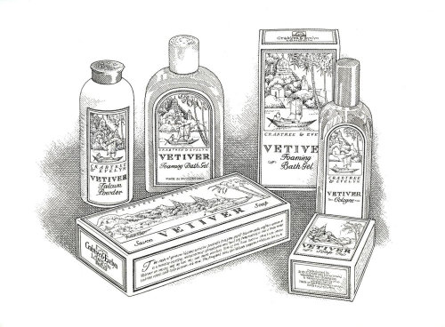 Black and white packaging illustration