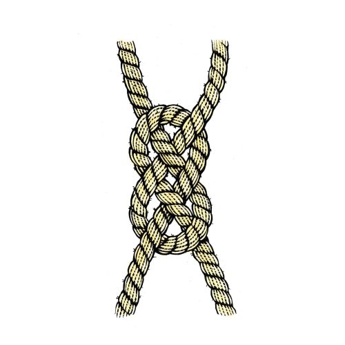 Tri knot of a rope