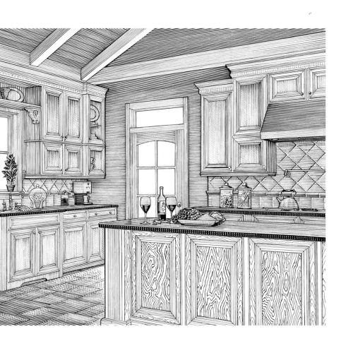 Interior Kitchen Black and white