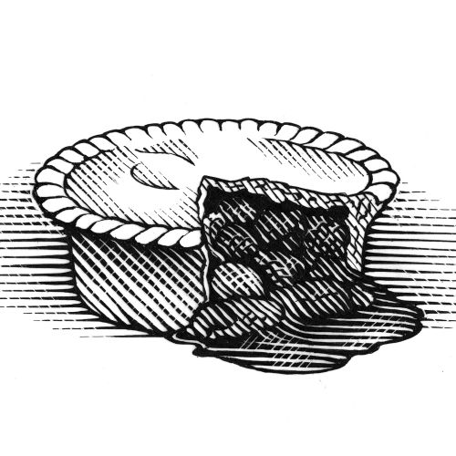 Linocut art of meat pie