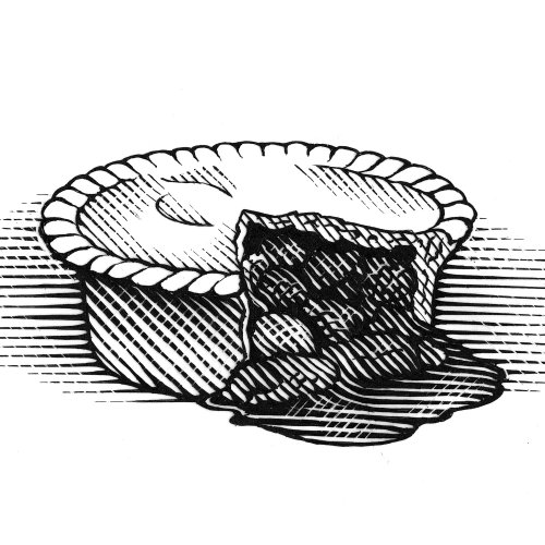 Meat pie black and white drawing