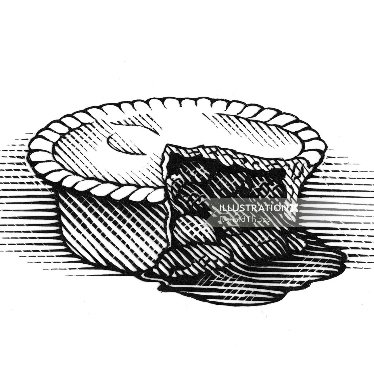Linocut art of meat pie
