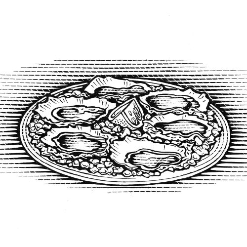 Food in plate black and white illustration