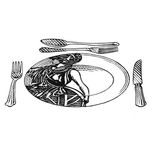 illustration of plate spoon fork and knife