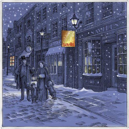 illustration of Savills Christmas card