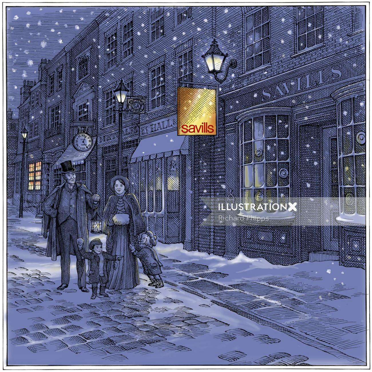 illustration of Savills Christmas card