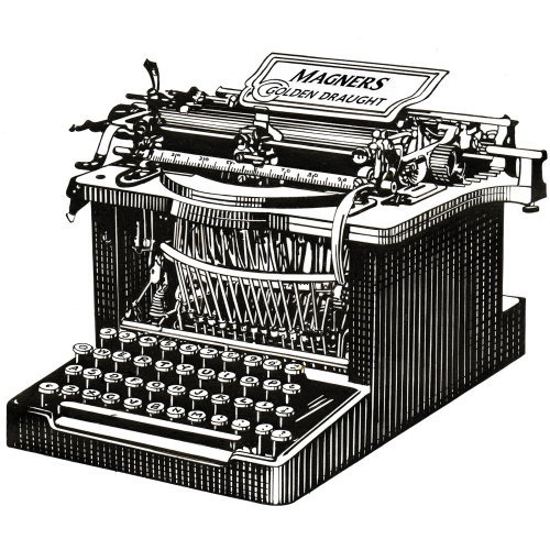 Typewriter machine black and white illustration