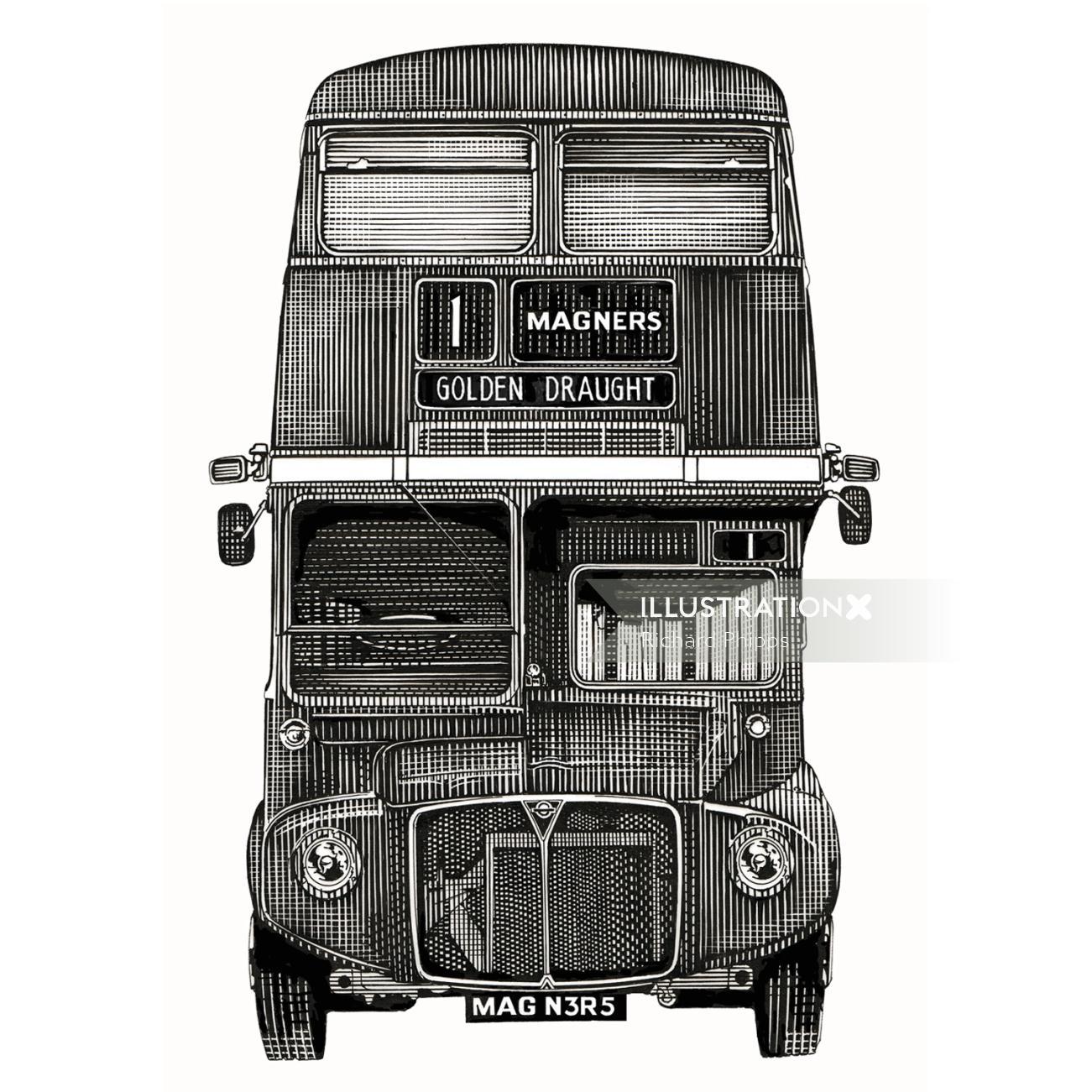 Magners Cider Routemaster retro graphic