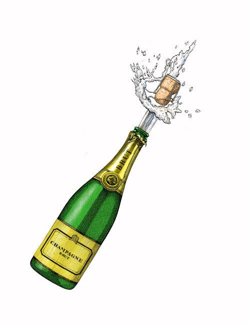 Popping champagne cork illustration