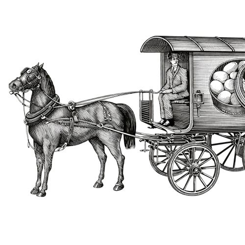 Horse and buggy black and white artwork