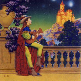 Boy in princely garb serenading the stars