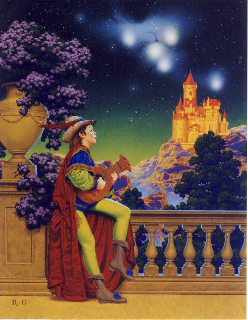 Boy in princely garb serenading the stars