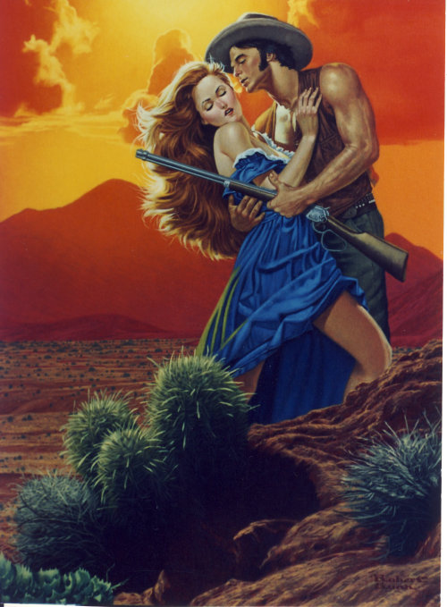 Book cover of Cowboy trying to force himself on a woman