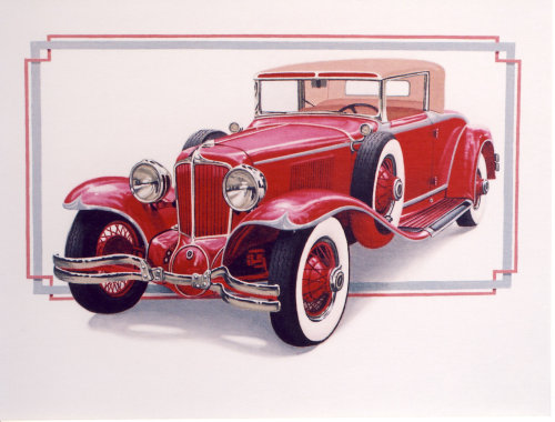 Illustration of exotic antique car