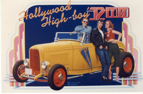 Poster illustration of Happy Days gang next to hotrod