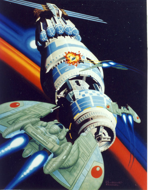 Editorial illustration of alien forces attacking universal outpost