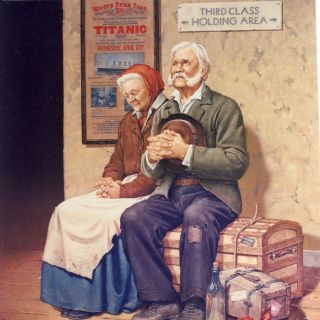 Illustration of old couple hoping for a new life in America
