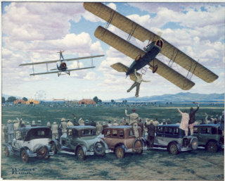 Artwork of air circus and fly-over stunts