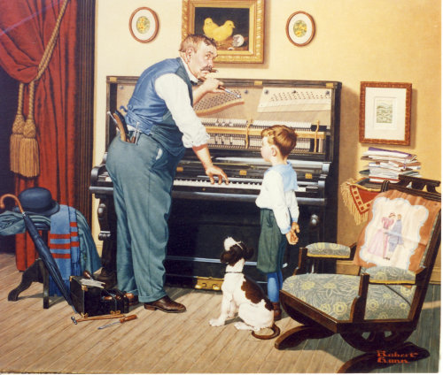 Illustration of skilled piano tuner tuning family piano by Robert Gunn