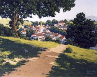 Artwork of farming community among the verdant hills