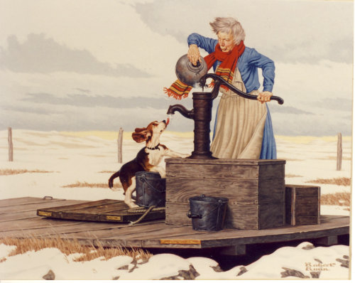 Painting of Farm women trying to thaw out the water pump