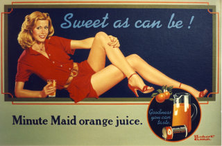 Poster of model presenting a sweet glass of orange juice