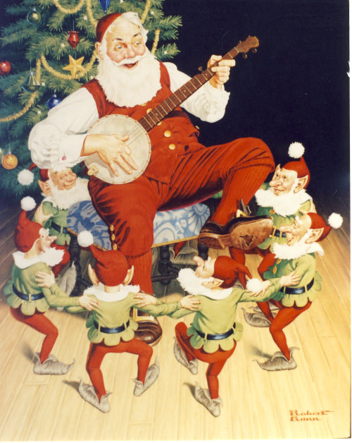 Illustration of Elves dancing around Santa playing a banjo