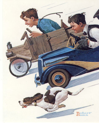 Illustration of two boys racing downhill to see which one has the fastest
