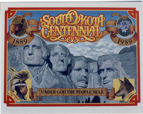 Promotional poster in celebrating South Dakota's centennial