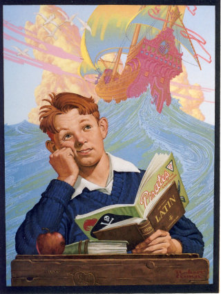 Illustration of boy thinking about pirates and adventure