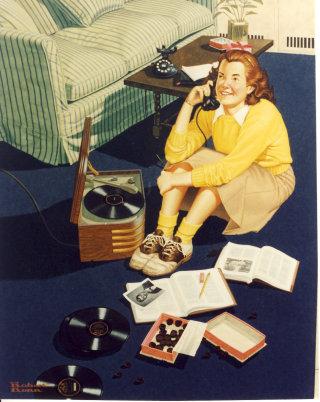 Illustration of girl doing homework while talking on Phone